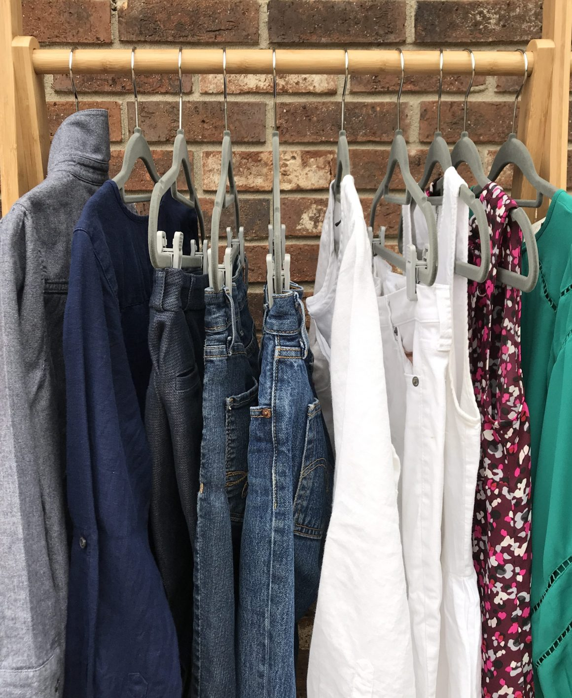 Rack with Clothing Blue, White, Wine and Teal