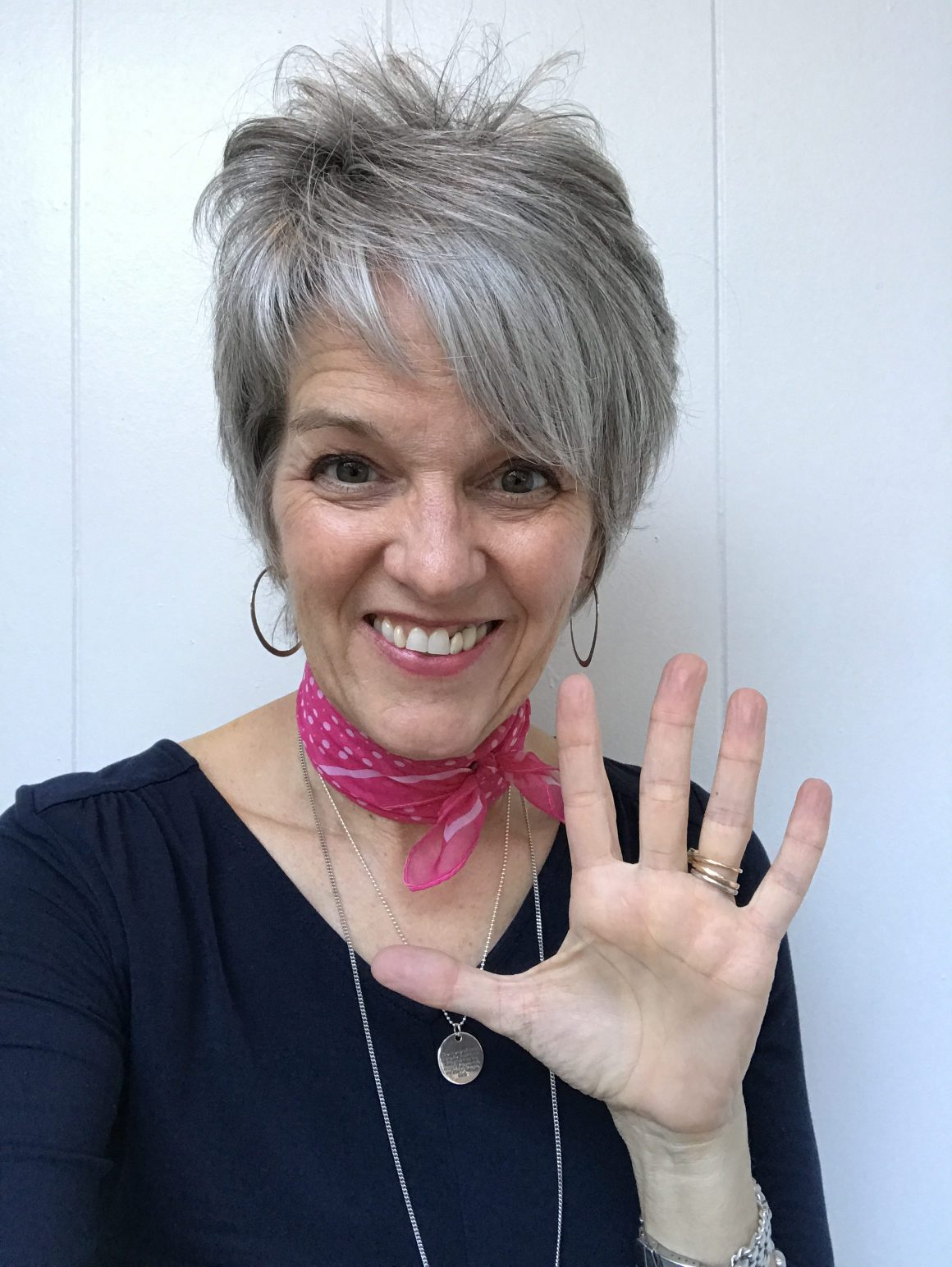 Woman Showing 5 Fingers Open Hand