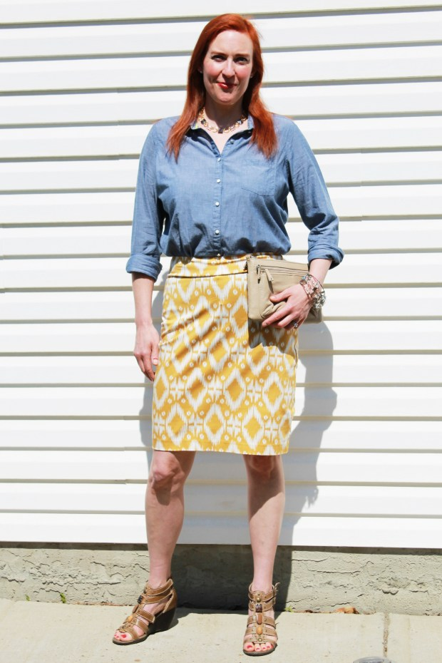 chambray shirt navajo skirt
