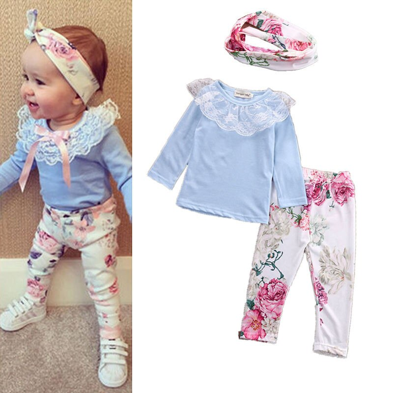 Newborn Toddler Baby Girl Lace Tops T-Shirt Floral Pants 3Pcs Outfit Set Clothes