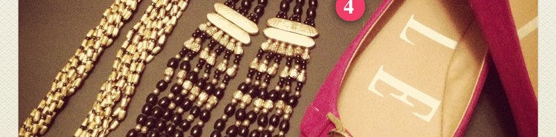Gold Accents – <br />Elle ballet flats from Kohl's, Forever21 Necklaces, & Earrings from JCPenney