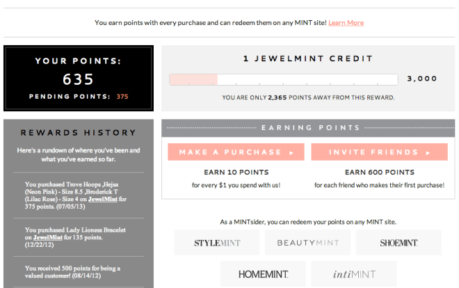 Jewelmint credit screenshot July 2013