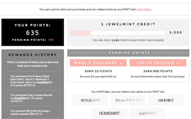 Jewelmint credit screenshot July 2013