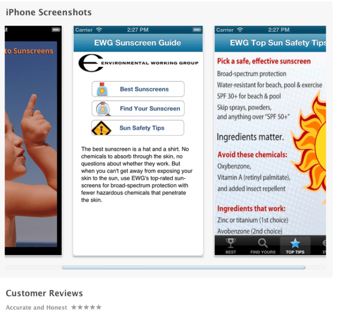 EWG's 2013 Natural SPF Sunscreens iphone app