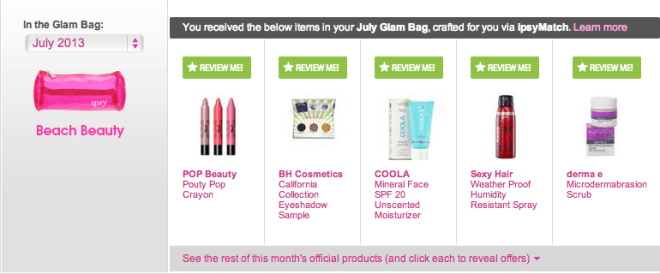 My July 2013 Ipsy bag - cute hot pink!
