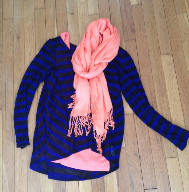 black and blue stripes with bright orange