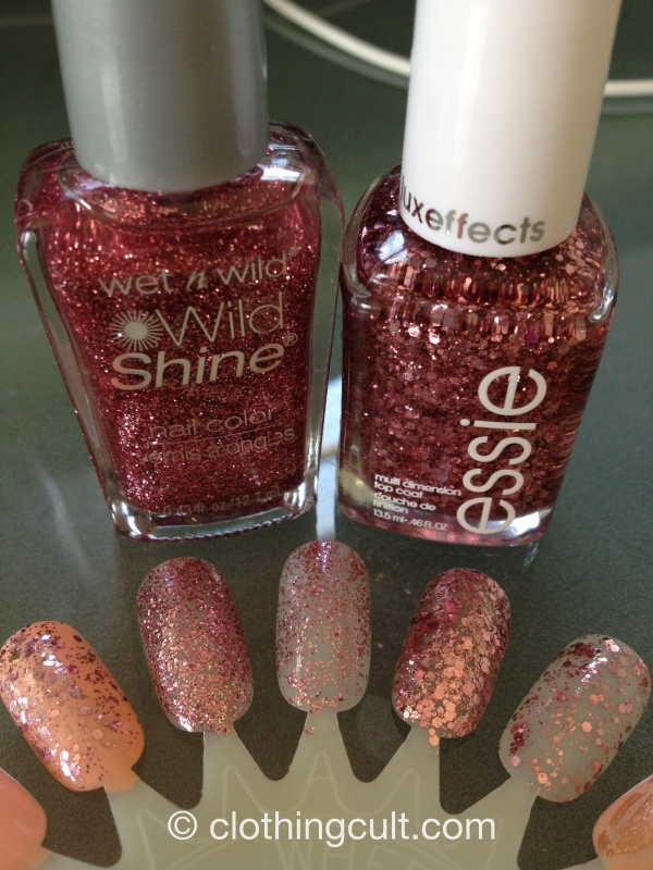 essie a cut above and wet n wild sparkle nail polish swatch