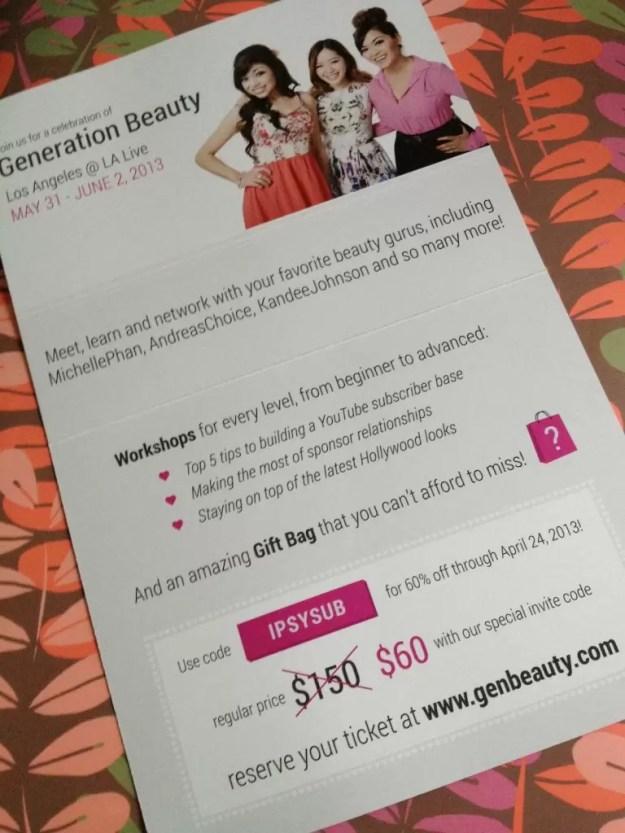 ipsy genbeauty discount code 2013