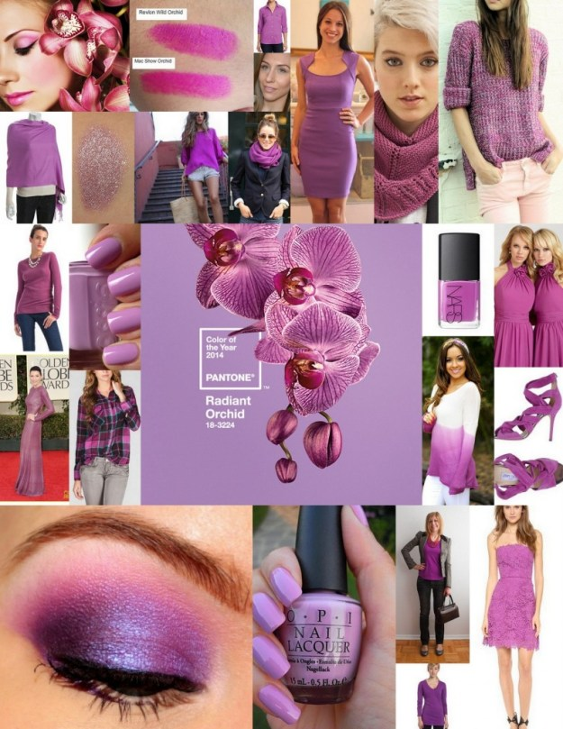 radiant orchid collage - sweaters dresses shirts shoes nails
