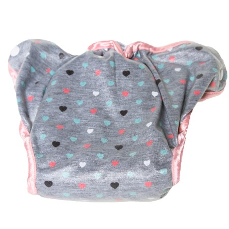 Grey & Pink Heart Print Cloth Nappy