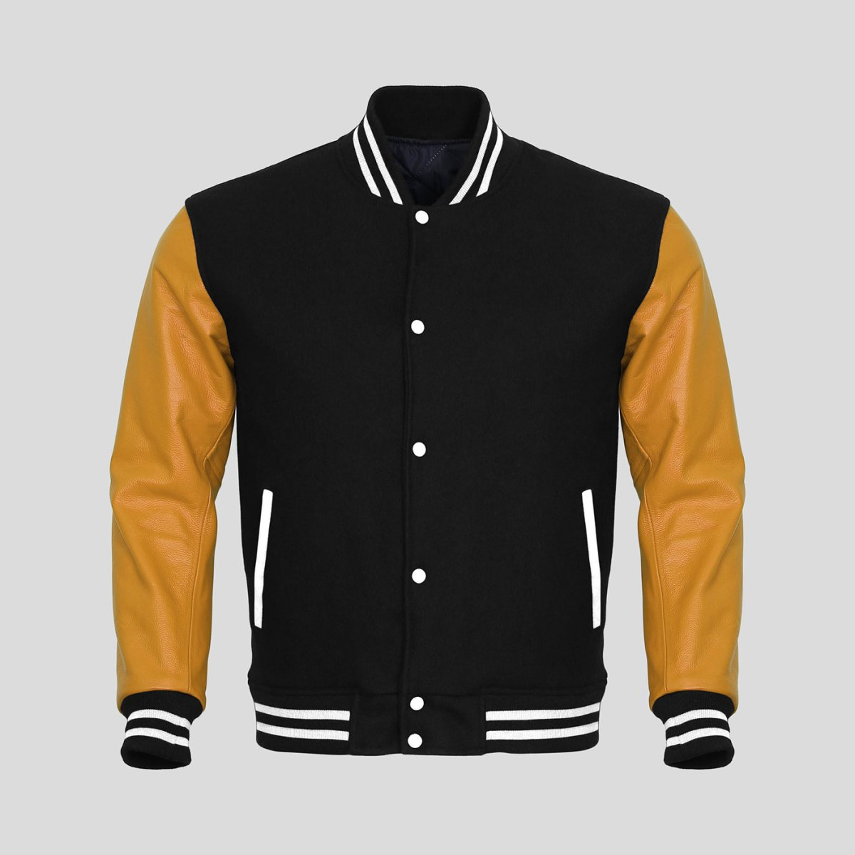 Wool jacket leather sleeves