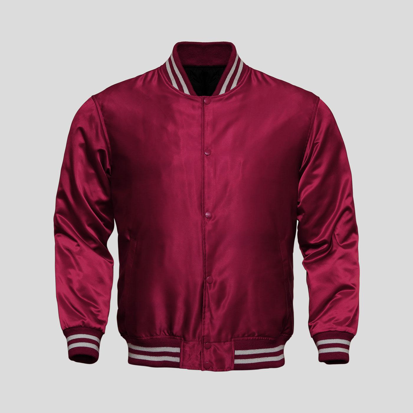 Maroon Satin Baseball Jacket | Clothoo