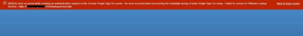 VCSA error 400 lookup service failed to start