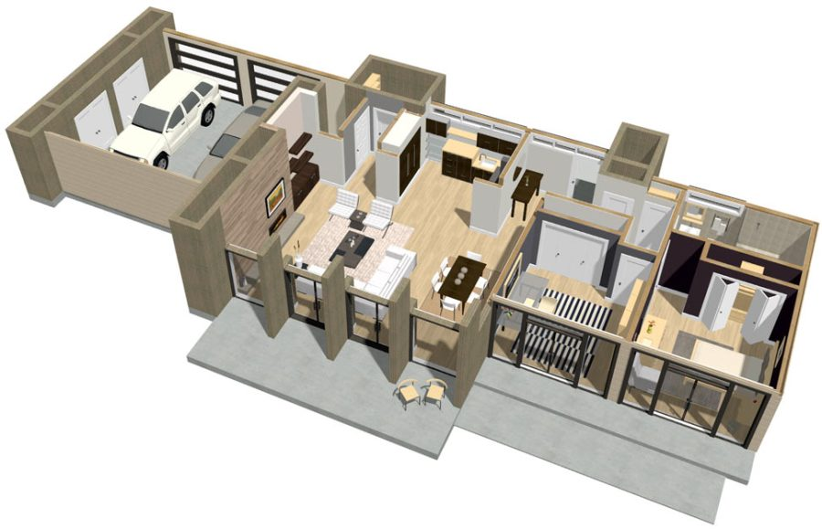 Home Designer Interiors Modern 3D floor plan dollhouse overview