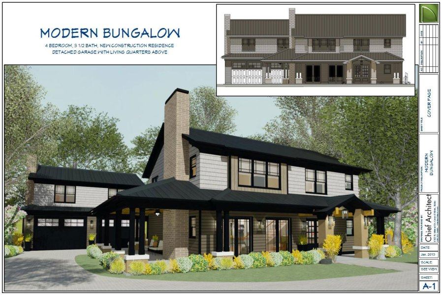 Chief Architect Home Design Software   Samples Gallery     take on craftsman style home with a modernized twist  this house has  stained shingle siding  a wrap around porch and garage attached via  breezeway