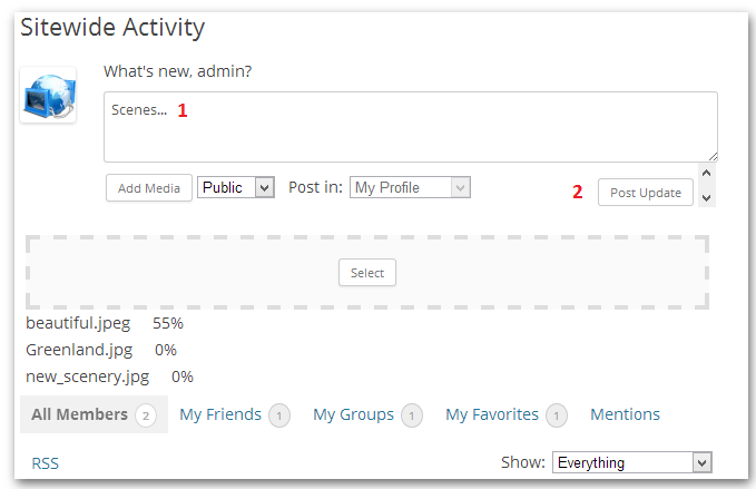 Uploading media in BuddyPress updates