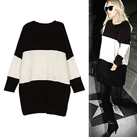 LINSAY LOHAN Style / Wide Stripes Longline Long Sleeves Women's Sweaters