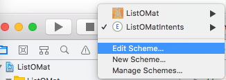 A screenshot from Xcode showing how to edit a scheme