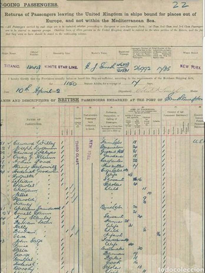Resultado de imagen para Fotos de lista original de pasajeros del Titanic,