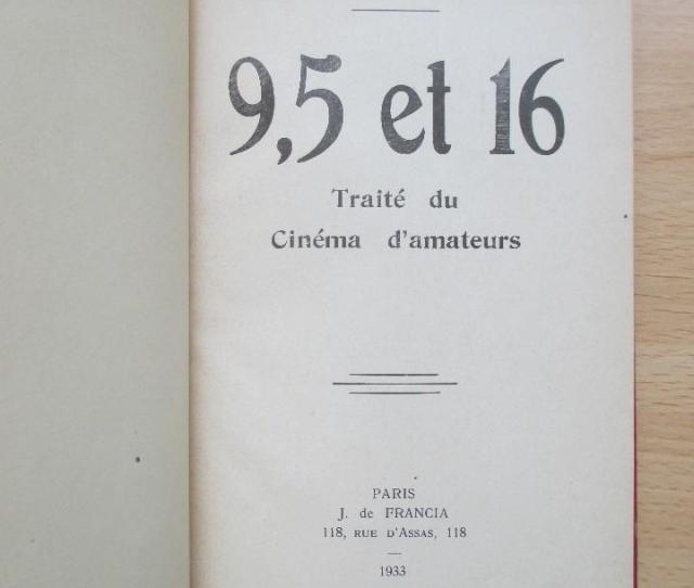 Libros Antiguos  Traite Du Cinema Damateurs