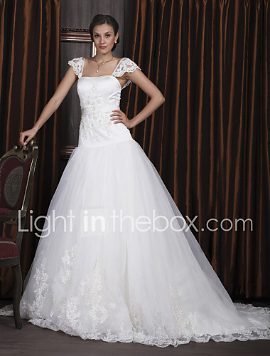 Ball Gown Square Neckline Court Train Plus Size Wedding Dress