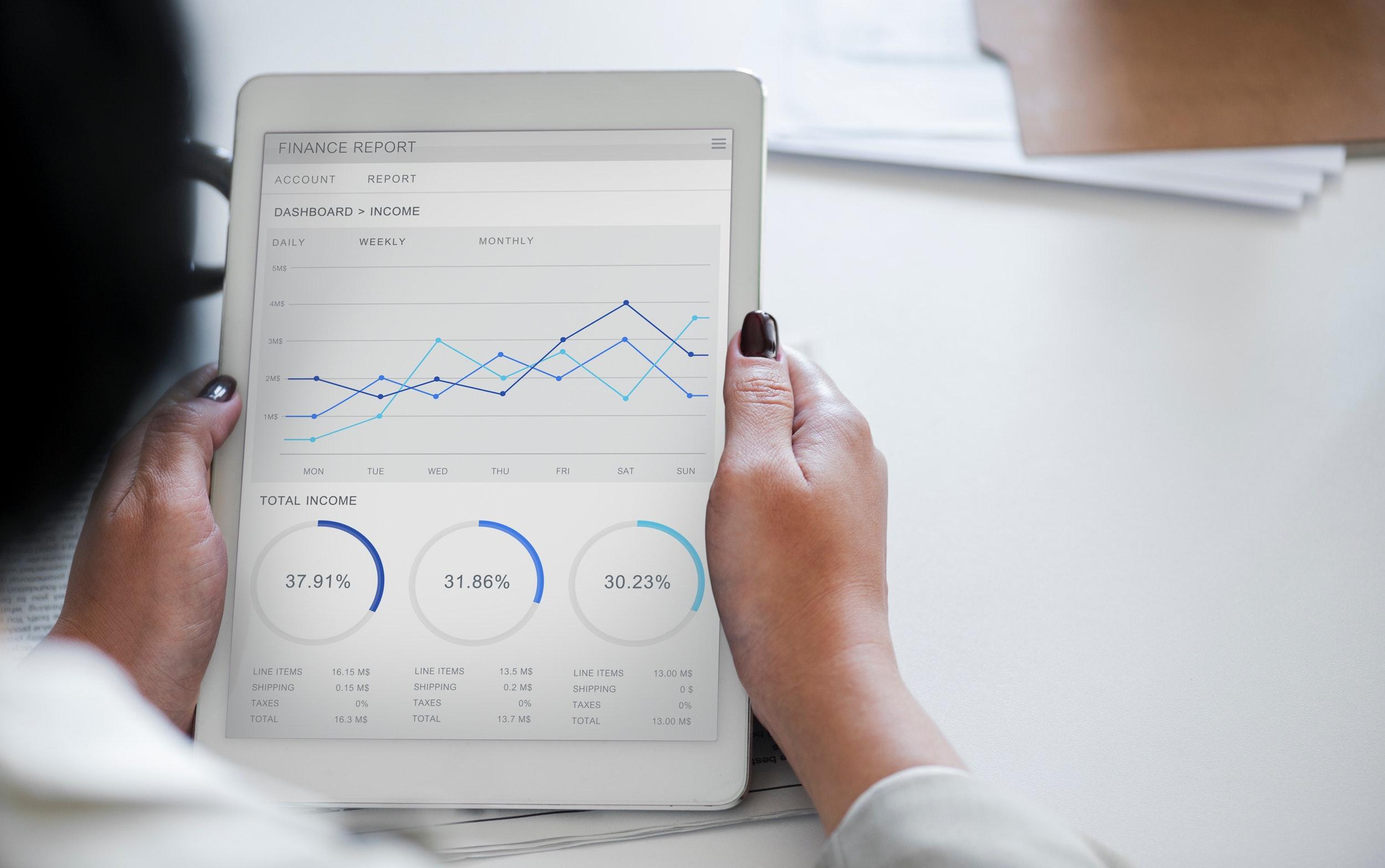 Woman looking at finance chart