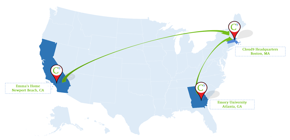 map showing the distance between California, Georgia and Massachusetts.