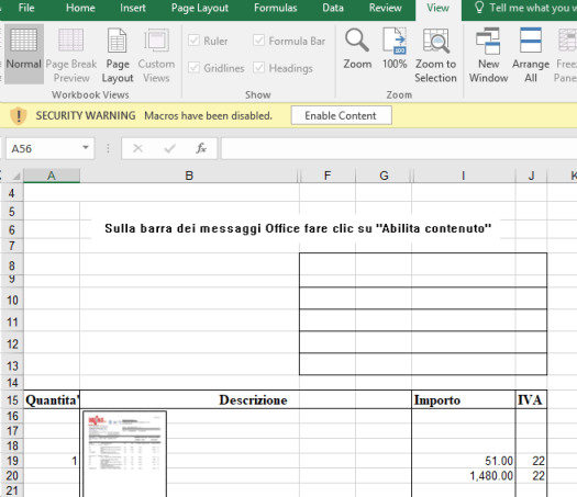 """Screenshot of malicious Excel document with instructions in Italian to click """"Enable content"""""""