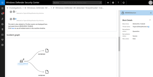 Sample Windows Defender ATP alert showing how detection of the Sharpshooter technique by Windows Defender AV is surfaced in Windows Defender Security Center