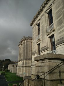 The National Library of Wales on moody afternoon.