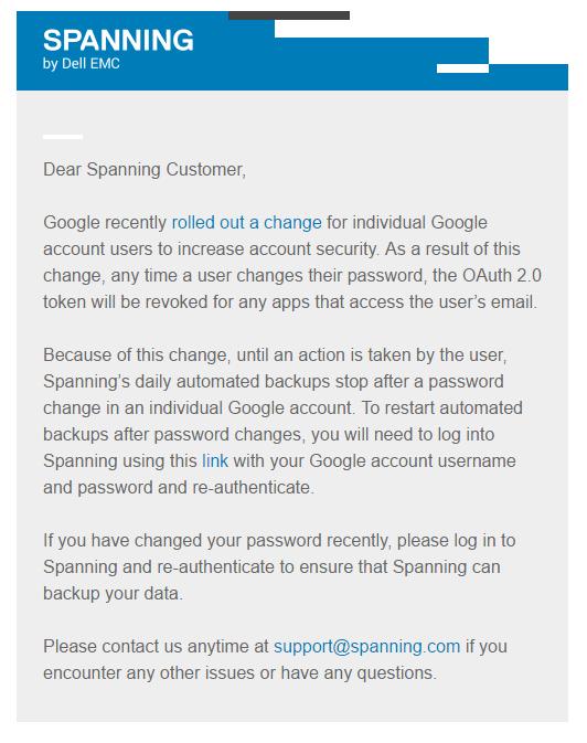Spanning Sends Notice to Users to Remind Them to Re-authenticate on Password Change