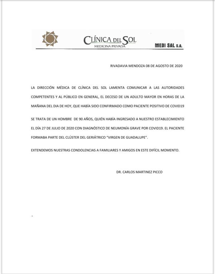 Con un comunicado, una clínica de Rivadavia informó el fallecimiento por coronavirus de un paciente de 90 años.