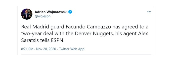 La confirmación de Woj, uno de los periodistas que mejor información manejan del mundo NBA