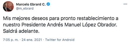 """Marcelo Ebrad confió en que el mandatario mexicano """"saldrá adelante"""" (Foto: Twitter)"""