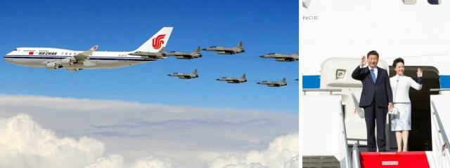 Los presidentes de China (en la foto Xi Jinping junto a su esposa) utilizan dos Boeing 747 de la aerolínea estatal Air China como medio de transporte