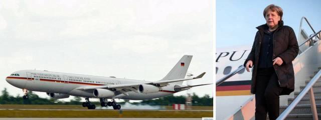 Un Airbus A340 modificado sirve como el transporte del gobierno de Alemania, encabezado por la canciller Angela Merkel