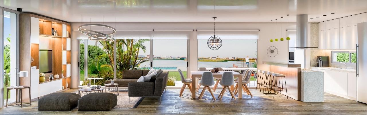 La cocina se integra con otros ambientes y la luminosidad es clave en las casas modernas