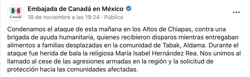 The Canadian Embassy in Mexico asked that the violence stop (Screenshot)