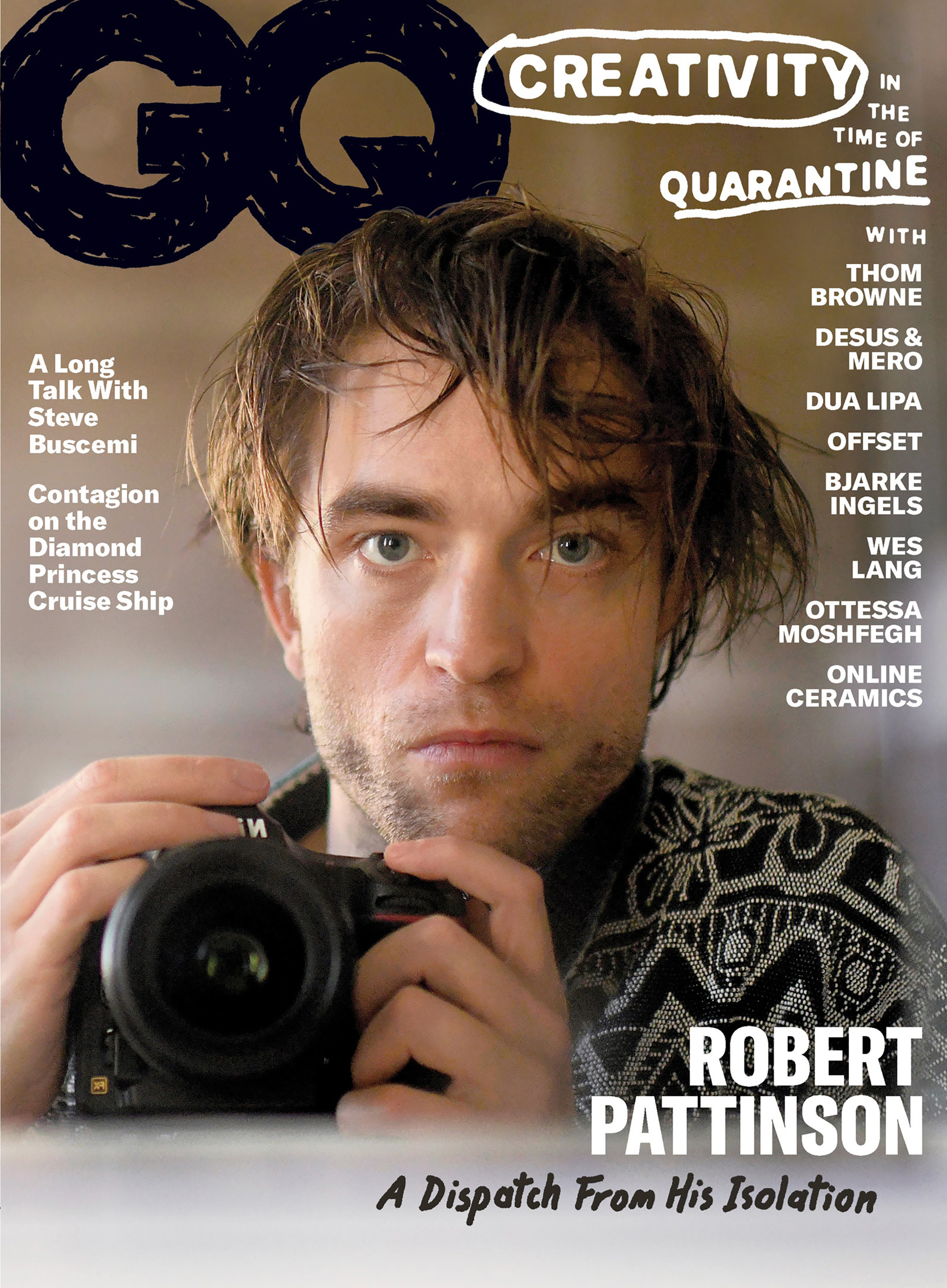 """El actor Robert Pattinson se convierte en tendencia tras publicarse una serie de sus autorretratos, en la revista GQ, titulada""""A dispatch From His Isolation""""."""