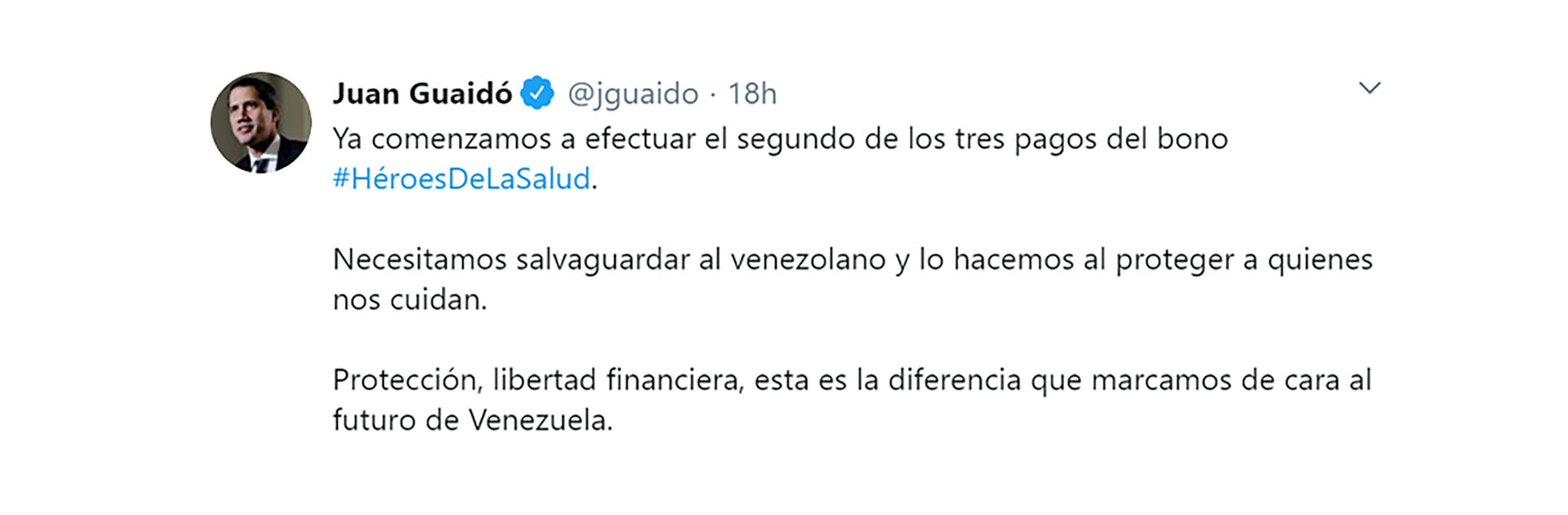 El anuncio de Guaidó en Twitter