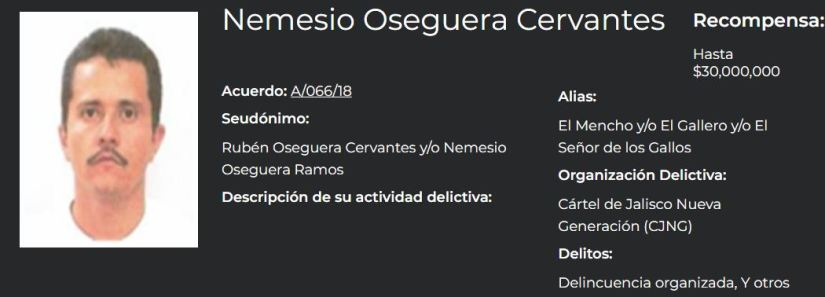 Nemesio Oseguera Cervantes, leader of the CJNG, on the list of the most wanted in Mexico (Photo: Government of Mexico)