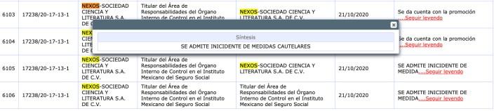 Nexos consiguió dos suspensiones provisionales este martes (Foto: Captura de Pantalla Tribunal Federal de Justicia Administrativa)