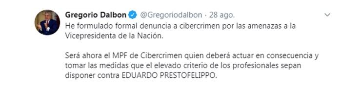 El abogado que representa a Cristina Kirchner comunicó la radicación de la denuncia