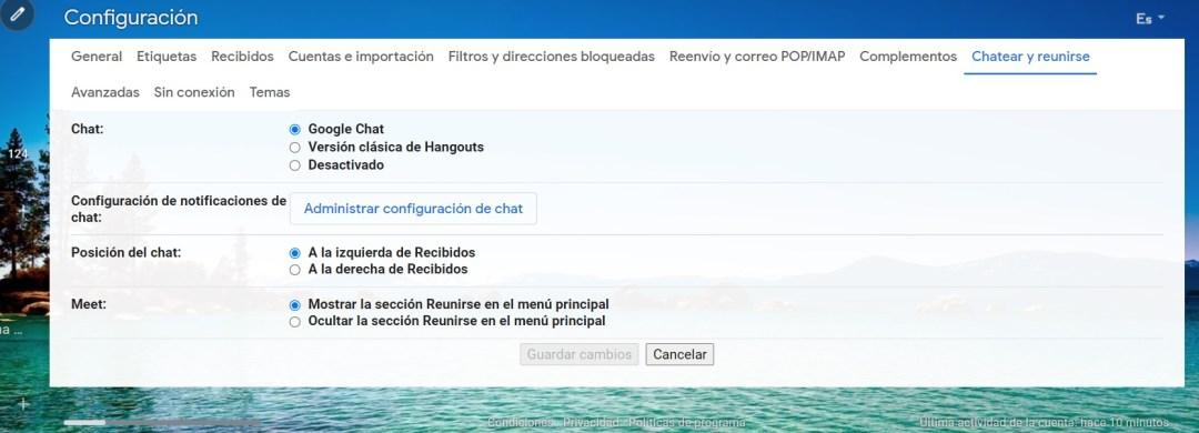 Para activar Google Chat hay que ingresar al menú de Configuración de la cuenta de Google