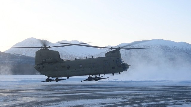 A U.S. Army National Guard CH-47 Chinook takes flight for exercise Arctic Eagle 2020 on Feb. 24, 2020, at Joint Base Elmendorf-Richardson, Alaska. The drill is meant to benefit homeland security and emergency response operations in the northern U.S. state. (Alaska National Guard)