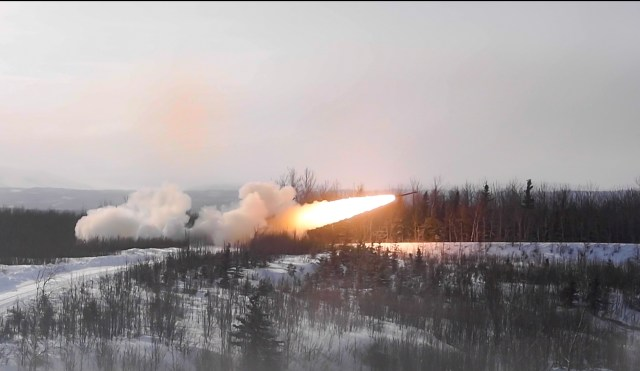 U.S. Marines shoot an M142 High Mobility Artillery Rocket System during U.S. Northern Command's Exercise Arctic Edge in Fort Greely, Alaska, on March 3, 2020. (Staff Sgt. Diana Cossaboom/U.S. Air Force)