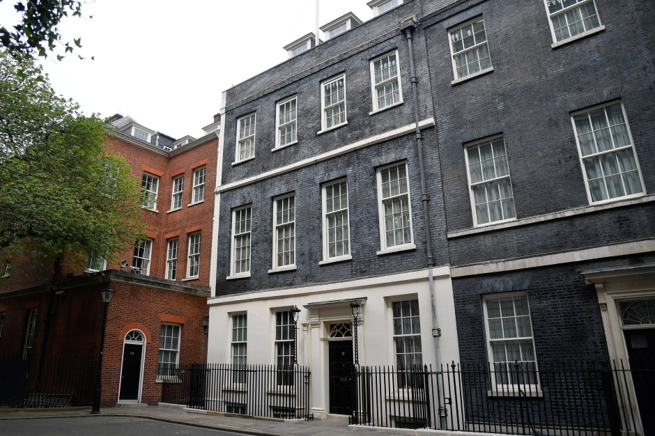 A general view shows number 11 and 12 Downing Street in London, Britain, April 28, 2021. REUTERS/Toby Melville
