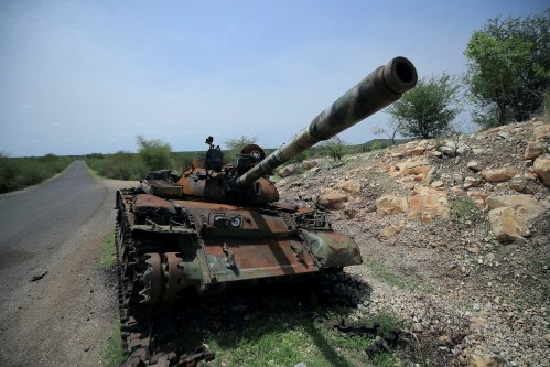 A tank damaged during the fighting between Ethiopia's National Defense Force (ENDF) and Tigray Special Forces stands on the outskirts of Humera town in Ethiopia July 1, 2021.  REUTERS/Stringer