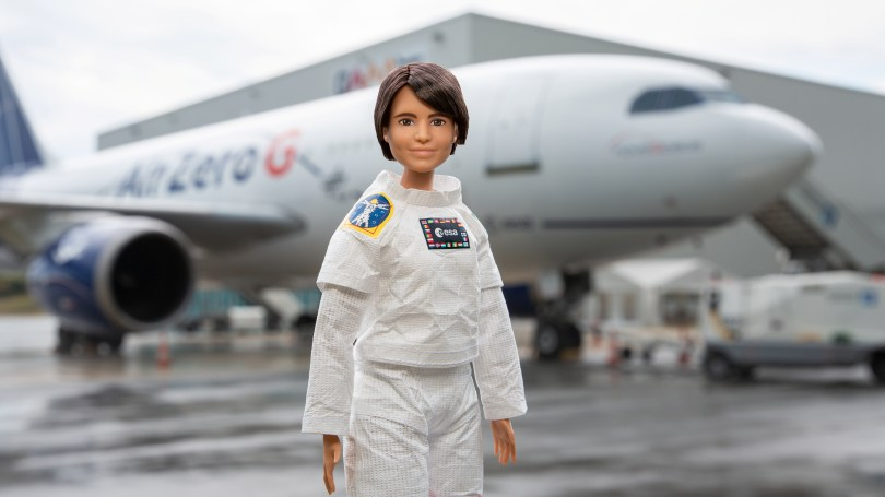A Barbie doll version of an Italian astronaut Samantha Cristoforetti is seen at the Paderborn Lippstadt Airport in Buren, Germany, in this undated handout photo. Courtesy of ESA/Petra Rajnicova/Handout via REUTERS