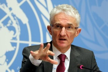 """U. N. Under-Secretary-General for Humanitarian Affairs and Emergency Relief Coordinator (OCHA) Mark Lowcock attends a news conference for the launch of the """"Global Humanitarian Overview 2019"""" at the United Nations in Geneva, Switzerland, Decemer 4, 2018.  REUTERS/Denis Balibouse/File Photo"""